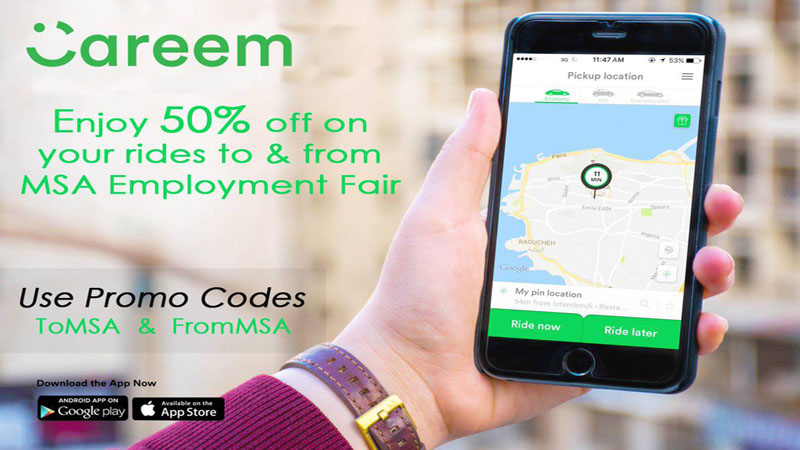 Enjoy Careem 50% off from and to MSA