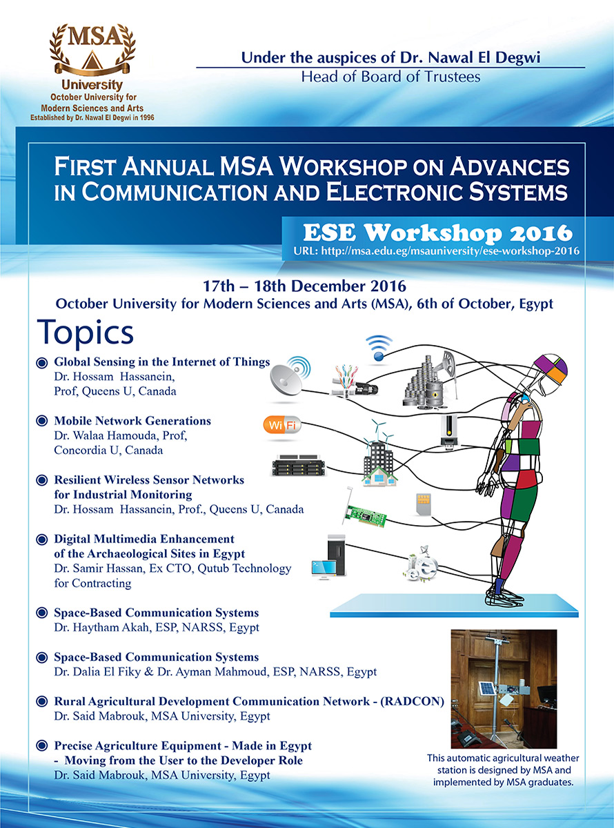 MSA University - Topics of the 1st MSA International Workshop on Communications & Electronics