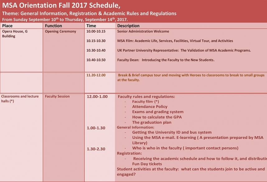 MSA Orientation Fall 2017