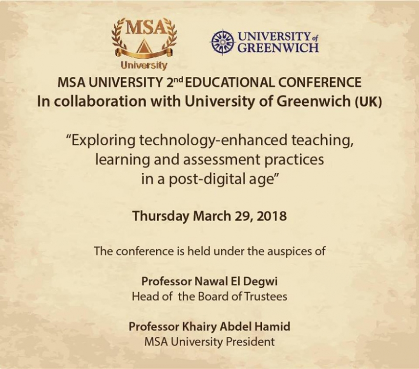 MSA second annual international conference on Learning, Teaching and Assessment