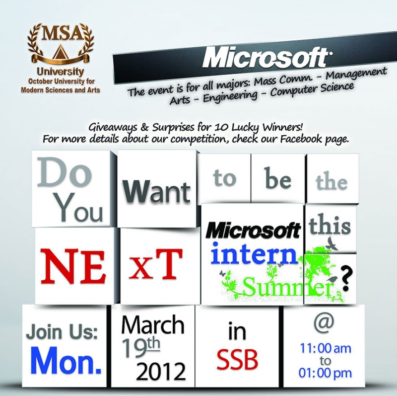 Microsoft Internship 2012 Special at MSA University